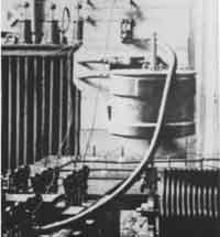 Tesla Inventions- Interior closeup of oscillator components- condensers, regulating coil and Westinghouse high tension transformer- from Tesla's experimental station Colorado Springs 1899