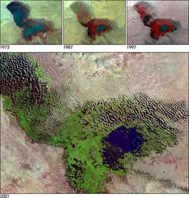 Irrigation / Water Problems: Lake Chad of Africa is disappearing.