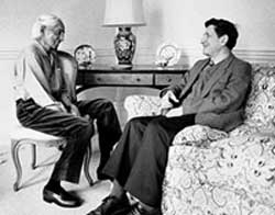 David Bohm and Krishnamurti. 'The notion that all these fragments is separately existent is evidently an illusion, and this illusion cannot do other than lead to endless conflict and confusion.' (David Bohm, 1980)