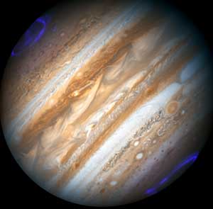 Jupiter with Aurora - the fifth planet from the Sun and by far the largest.