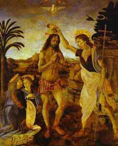 Leonardo da Vinci and Andrea del Verrocchio - The Baptism of Christ