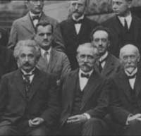 Quantum Physics: Albert Einstein, H.A. Lorentz and Louis de Broglie (back right)