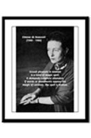 Simone de Beauvoir Framed Print. The Philosophy Gift Shop: Calendars, Journals, Greeting Cards, Postcards, Prints, Mousepads, Bumper Stickers, Mugs & Beer Steins, Wall Time Clocks, Buttons & Fridge Magnets, Tile Coasters.