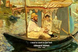 Monet Painting in his Floating Studio (1874), Edouard Manet, (1832 - 1883)