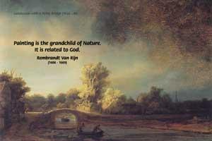 Landscape with a Stone Bridge (1638), Rembrandt Harmenszoon van Rijn, (1606 - 1669)
